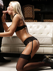 Erotic lingerie sex with a beautiful blonde girl is the height of pleasure