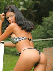 A thong bikini is the perfect choice for stunning Latina model Karla Spice